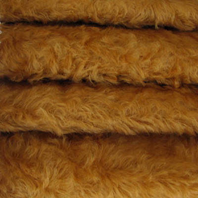 "1/4 yd 785S/C Caramel INTERCAL 3/4"" Med. Dense Curly German Mohair Plush Fabric"
