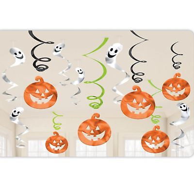 12pc Kürbis Geist Wandbehang Halloween Folie Wirbel Decke Party Dekoration