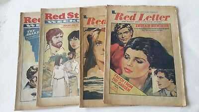 "×4 Vintage Womans Romantic Mags""red Star/red Letter"" 1980"