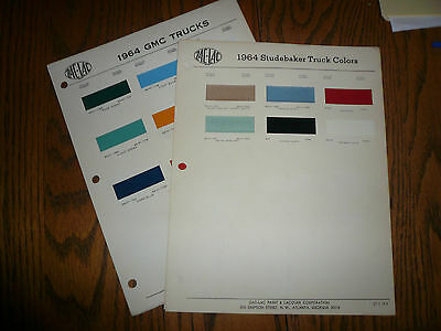 1964 Studebaker 1964 GMC Truck ZAC-LAC Color Chip Paint Samples