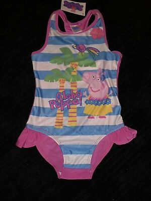 Girls Licensed Peppa Pig Swimsuit Size 6-7