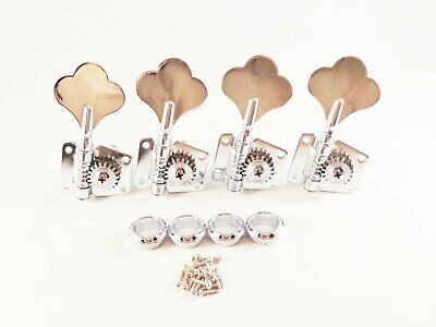 Chrome Tuning Pegs Bass 4 Cloverleaf 4 Pieces Right Vintage Open Bass Tuners New