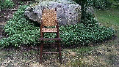 Antique Old hickory Adirondack high chair rustic, camp, cabin furniture - 6 OLD HICKORY Furniture Original Dining Chair Blue Wilderness Lodge