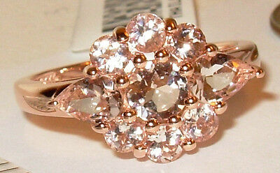 1.82Ctw Genuine Baby Pink Morganite Ring Rose Gold Over Sterling Silver
