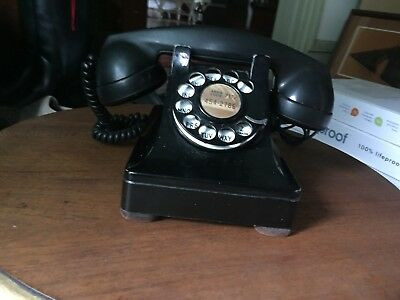 Antique Rotary Telephone Black Bell Western Electric F-1