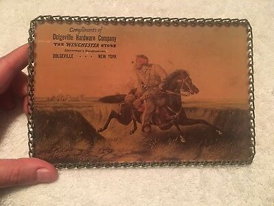 Antique Winchester Advertisement Man On Horse Dolgeville Hardware Company, N.Y.