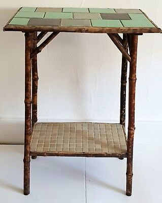 Beautiful Victorian bamboo side table, antique, vintage, boho, upcycled, tiled.