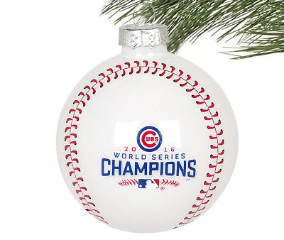 "Chicago Cubs MLB 2016 World Series Champions ""W"" Glass Ball Cristmas Ornament"