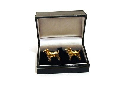 Jack Russell Terrier Gold Plated Cufflinks BOXED Fathers Fashion Christmas Gift
