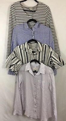 Lot Of Four Womens Size Small Striped Tops Blouses Casual