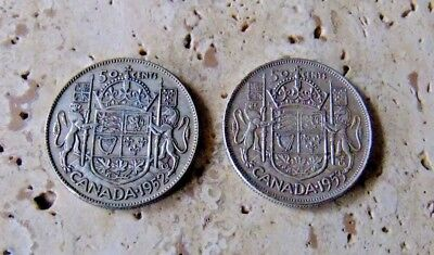 2x Canada Silver Fifty Cent Coins - 1952 & 1953 - Patina