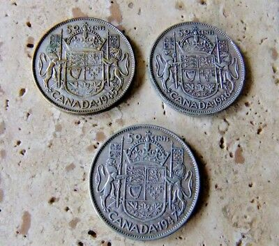 3x Canada Silver Fifty Cent Coins - 1945, 1946, 1947 - Patina