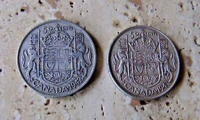 2x Canada Silver Fifty Cent Coins - 1942 & 1943 - Patina