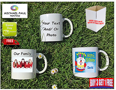 Personalised Mug With Your Own Text Image Photo Gift Birthday Cup Leaving Thank