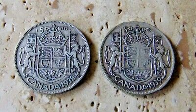 1938/39 Canada Silver Fifty Cent Coins