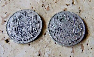 1940/41 Canada Silver Fifty Cent Coins