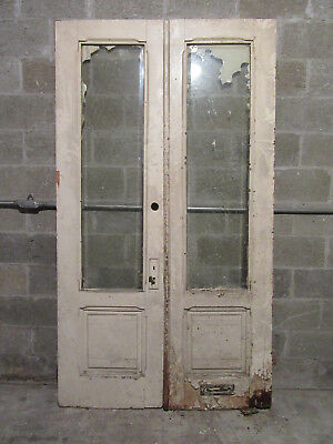 ~ Antique Double Entrance French Doors Beveled Glass ~ 48 X 87 ~ Salvage