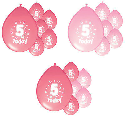 10 x 5th BIRTHDAY GIRL/ AGE 5 GIRL PINK AND LIGHT PINK BIRTHDAY BALLOONS (PA)