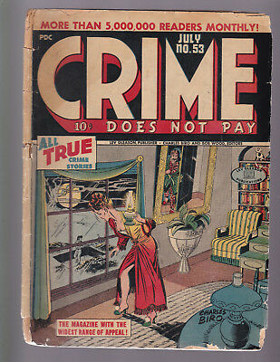 CRIME DOES NOT PAY #53 -- 1947 Lev Gleason -- Charles Biro Cover -- G