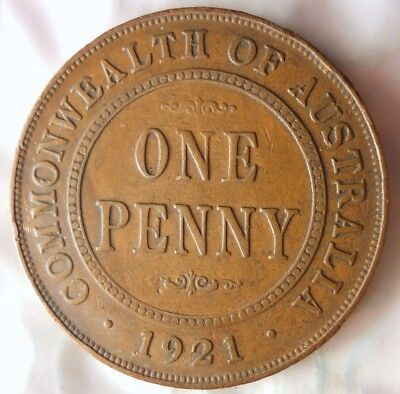 1921 AUSTRALIA PENNY - KEY DATE - Early Date Coin - Lot #921