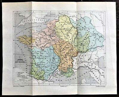 Original 1896 Color Map of FRANCE during 5th Century Merovingian Dynasty ~ RARE