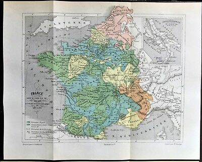Original 1896 Color Antique Map of FRANCE during the rule of KING LOUIS XI RARE