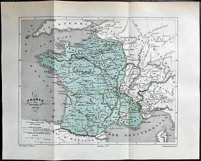 Original 1896 Color Antique Map of FRANCE during 1st Century?  RARE