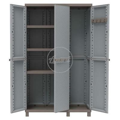 Armadio porta scope resina 3 ante mettitutto 102x39x170h grigio