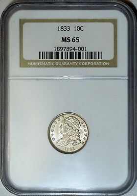 1833 NGC MS65 Capped Bust Dime, lustrous white true GEM, try to find this nice!