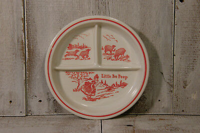 Vintage Little Bo Peep * Childrens Divided Plate * Transferware * Vitrock * Red
