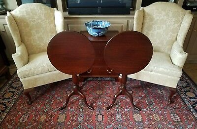 Pair Of Mahogany Queen Anne Tilt Top Tables #306 By Biggs Furniture (Kittinger)