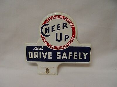 Cheer UP Soda And Drive Safely Embossed Metal Advertising License Plate Topper