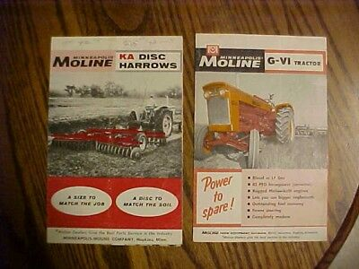 2-1960's Minneapolis-Moline Brochures, 2 pages each G-VI Tractor-KA Disc