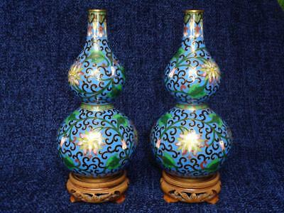 Nice Quality Pair of Mid/Late 20thC Chinese Double Gourd Cloisonne Vases EXC
