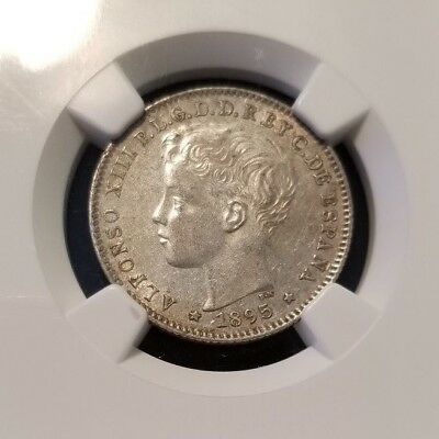 1895 Pgv Puerto Rico 20 Centavos Ngc Au 53 Very Scarce In High Grade