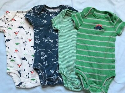Baby Boys Carters Dinosaur Short Sleeve Bodysuits Size 3 Months Lot Of 4