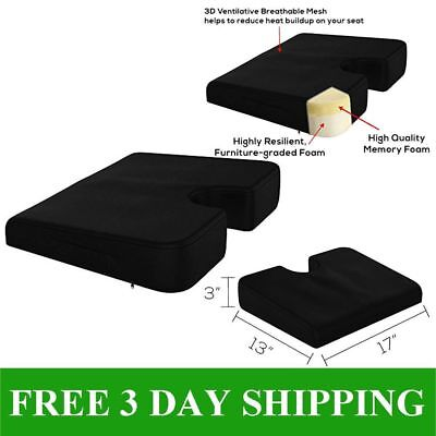 Coccyx Memory Foam Support Wedge Seat Cushion Back Pain for Car Chair Black NEW