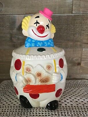 Vintage Clown Cookie Jar Cold Painted 1950's