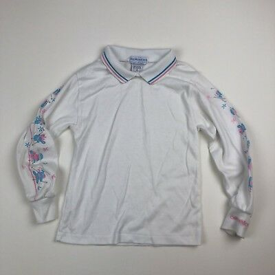 Girls Vtg Oshkosh White/Blue/Pink Skiing Bunnies L/S Shirt Top w/Collar Sz 6 USA