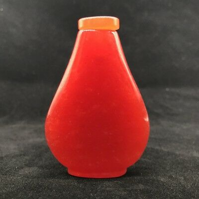 Chinese ancient natural jade hand-carved snuff bottle...
