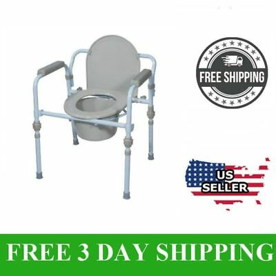 Adult Commode Chair Raised Over Toilet Seat Commode Bucket and Splash Guard, NEW