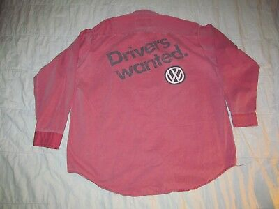 Drivers Wanted. Volkswagon Pale Red front button Work shirt Men's XL 26 by 30