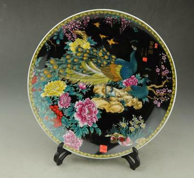 Chinese antique hand-made famille rose porcelain peacock patterns plate b01