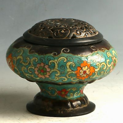 Chinese Cloisonne Hand Carved Incense Burner W Daqing Dynasty Qianlong Mark
