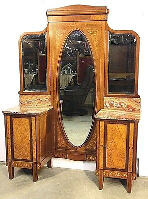Impressive antique French Art Deco marquetry dressing table superb inlaid 1915