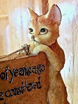 """Ornament """"Cats Are Gods"""" Golden Brown Cat Holding Sign, The JWM Collection NIP"""