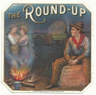 Vintage The Round-Up Cigar Box End Label