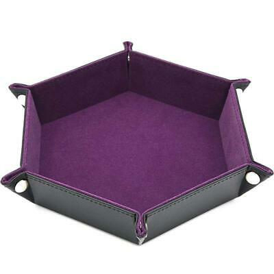 Board Game Dice Rolling Tray Collapsible Desktop Storage Box Hexagonal PU FW