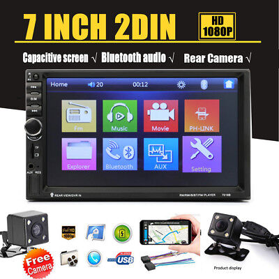 """7"""" Double 2 DIN Car Stereo Radio MP5 Player Mirror Link Bluetooth & Rear Camera"""