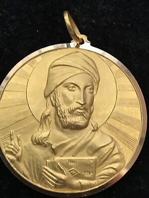 Antique Style Islamic Persian 18ct Gold 2sided Pendant 2 Holy Man Holding Koran